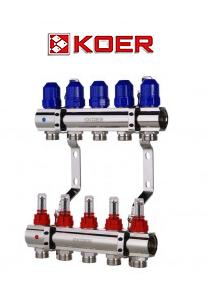 """Коллекторный блок с расходомерами Koer KR.1110-05 1""""x5 WAYS"""