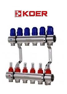 """Коллекторный блок с расходомерами Koer KR.1110-06 1""""x6 WAYS"""