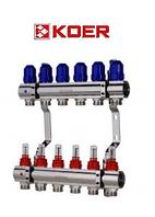 """Коллекторный блок с расходомерами Koer KR.1110-06 1""""x6 WAYS, фото 1"""
