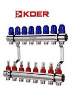 """Коллекторный блок с расходомерами Koer KR.1110-08 1""""x8 WAYS, фото 1"""