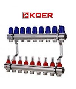 """Коллекторный блок с расходомерами Koer KR.1110-09 1""""x9 WAYS"""