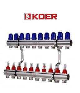 """Коллекторный блок с расходомерами Koer KR.1110-10 1""""x10 WAYS"""