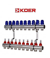 """Коллекторный блок с расходомерами Koer KR.1110-10 1""""x10 WAYS, фото 1"""