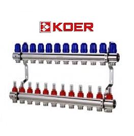 """Колекторний блок з витратомірами Koer KR.1110-12 1""""x12 WAYS"""