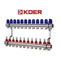 """Колекторний блок з витратомірами Koer KR.1110-12 1""""x12 WAYS, фото 1"""