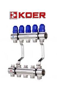 """Коллекторный блок с термостатическими клапанами Koer KR.1100-05 1""""x5 WAYS"""