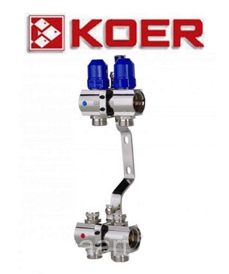 """Коллекторный блок с термостатическими клапанами Koer KR.1100-02 1""""x2 WAYS"""