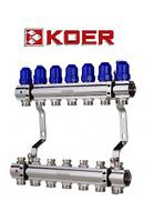 """Колекторний блок з термостатичними клапанами Koer KR.1100-07 1""""x7 WAYS, фото 1"""