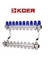 """Коллекторный блок с термостатическими клапанами Koer KR.1100-10 1""""x10 WAYS, фото 1"""