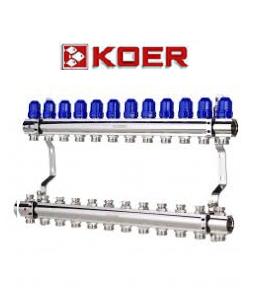 """Коллекторный блок с термостатическими клапанами Koer KR.1100-12 1""""x12 WAYS"""