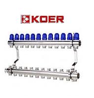 """Коллекторный блок с термостатическими клапанами Koer KR.1100-12 1""""x12 WAYS, фото 1"""