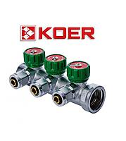 """Koer 1122-3 1""""x3 WAYS коллектор вентильный с фитингом, фото 1"""