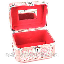 Шкатулка для рукоделия сундучок средняя розовый ромб S8152-2