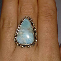 Кольцо натуральный карибский ларимар размер 18, фото 1