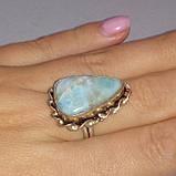 Кольцо натуральный карибский ларимар размер 18, фото 3