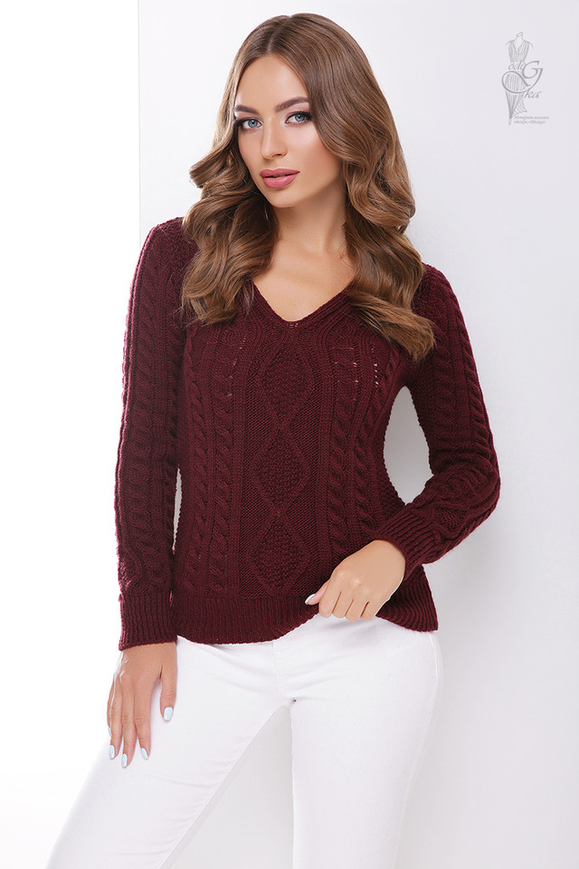 Цвет бордо Вязаного женского свитера Белла