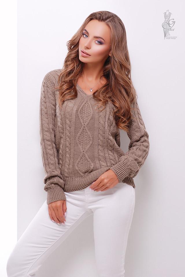 Цвет капучино Вязаного женского свитера Белла