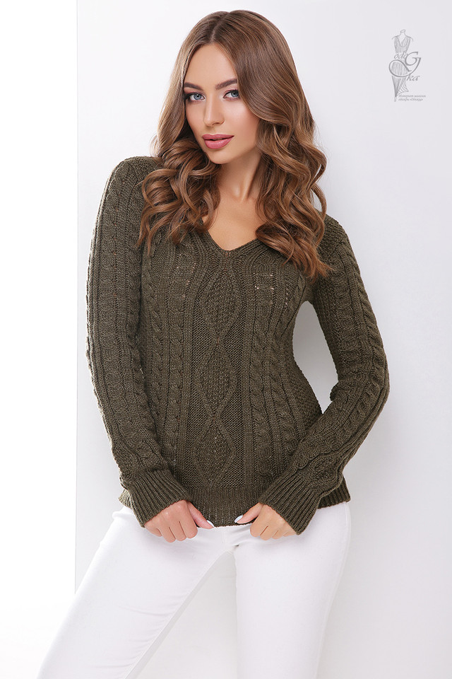 Цвет хаки Вязаного женского свитера Белла