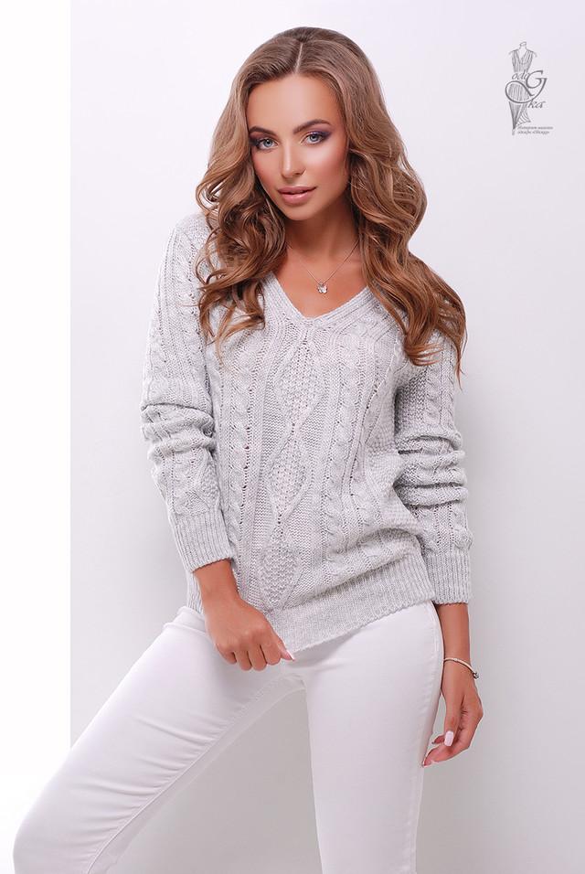 Цвет сталь Вязаного женского свитера Лиза