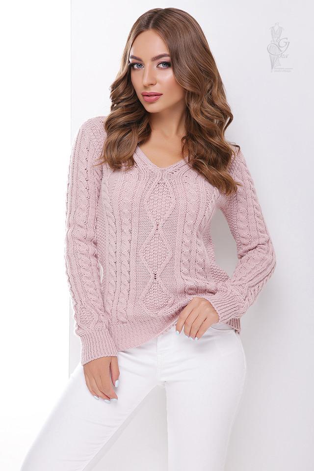 Цвет пудра Вязаного женского свитера Белла