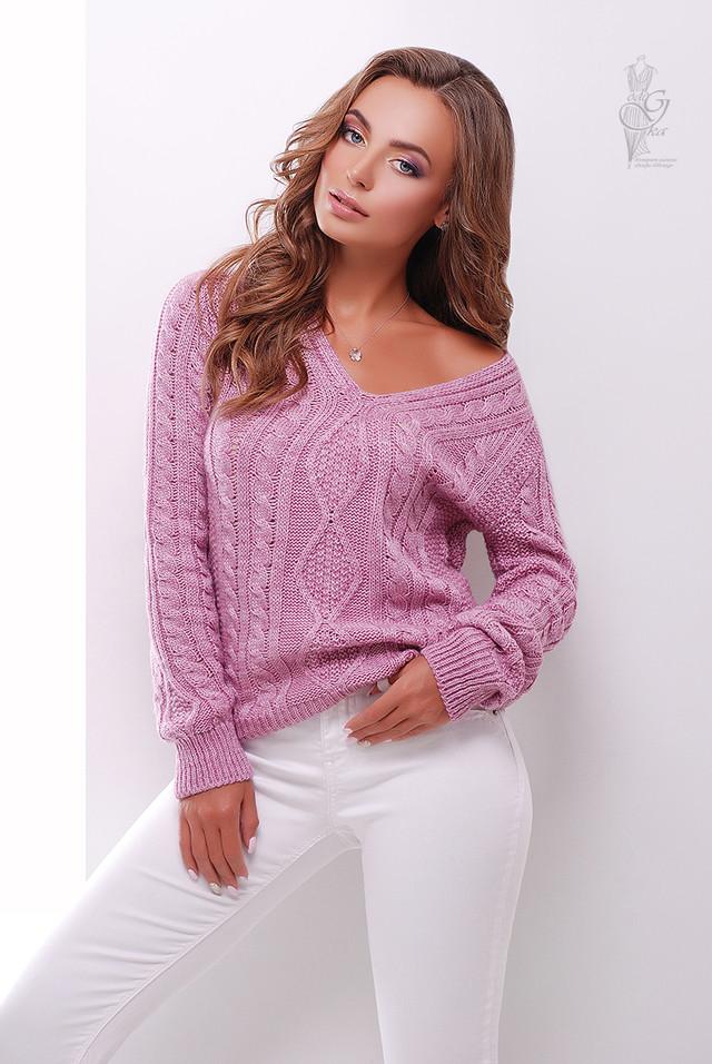 Цвет роза Вязаного женского свитера Белла