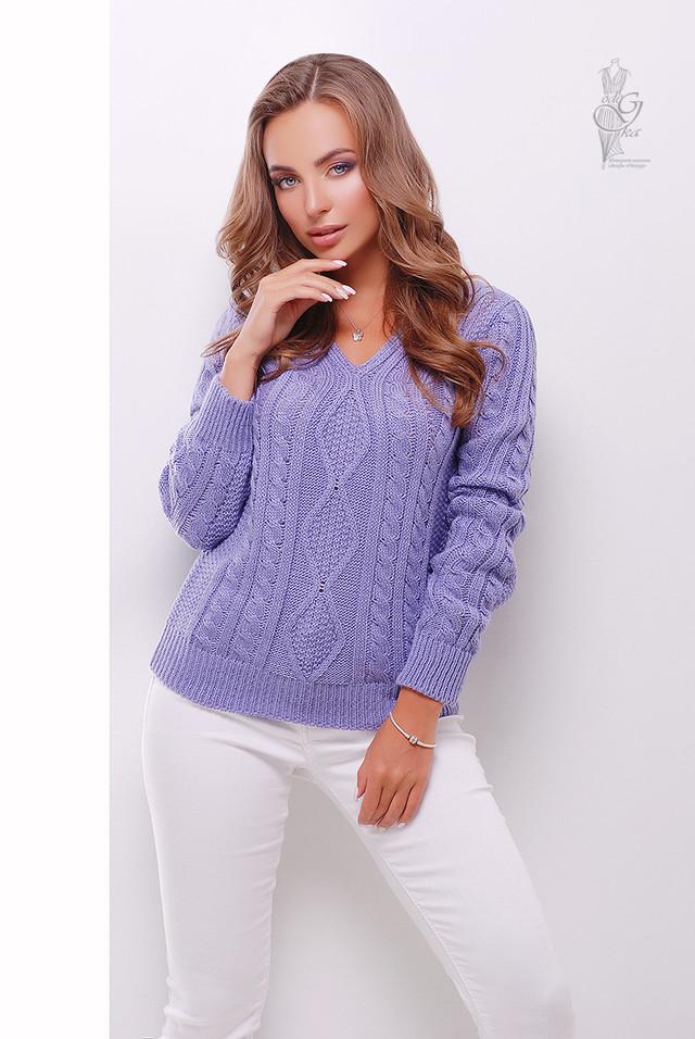 Цвет фиалка Вязаного женского свитера Белла