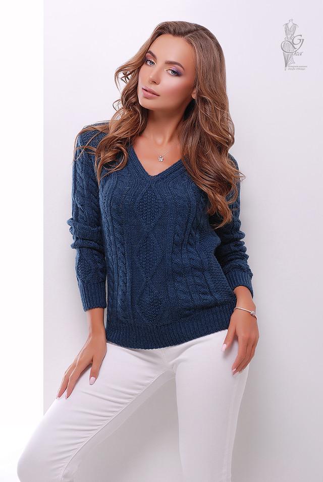 Цвет морская волна Вязаного женского свитера Белла