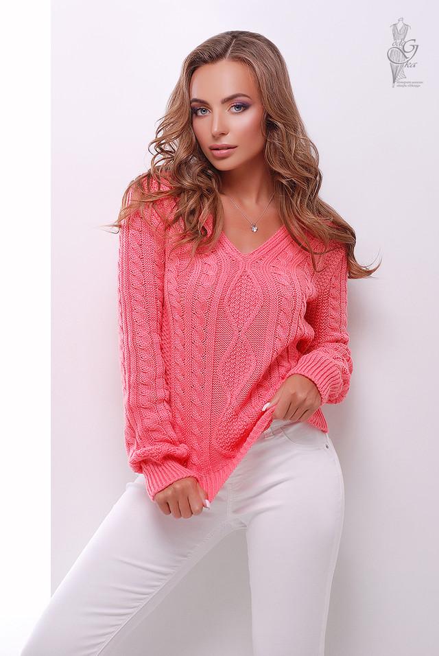 Цвет коралл Вязаного женского свитера Белла