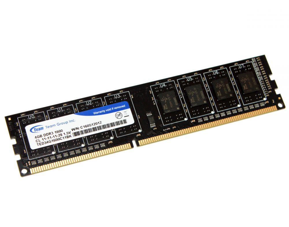 """Оперативная память Team DDR3 4GB 1600MHz DIMM TED34G1600C11BK """"Over-Stock"""""""