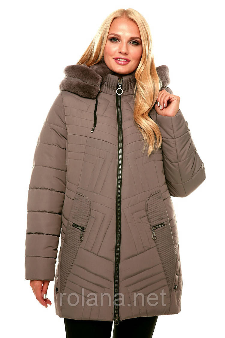 """Зимняя женская куртка с мехом """"Капучино"""""""