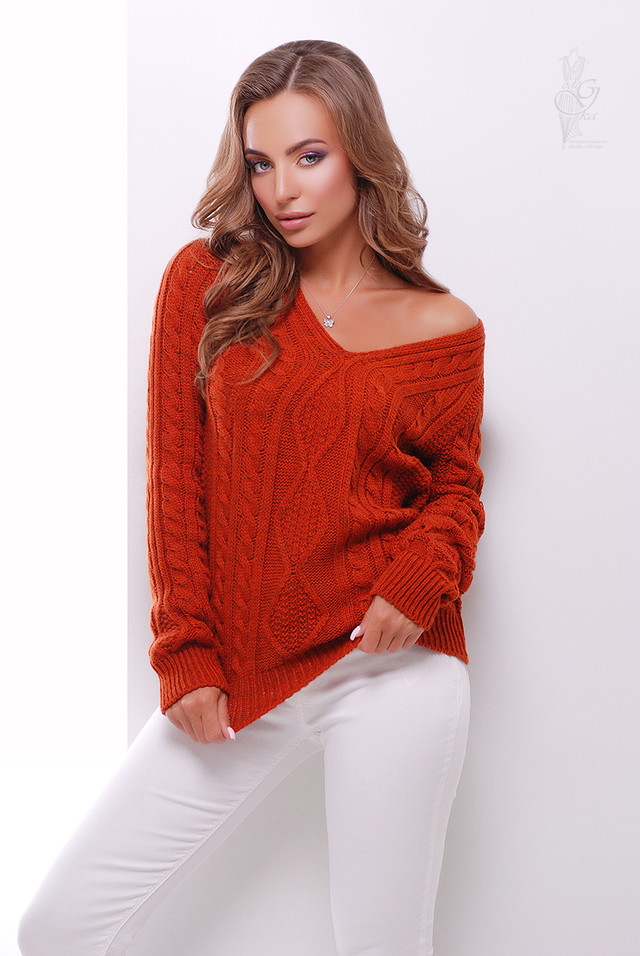 Цвет марсала Вязаного женского свитера Белла