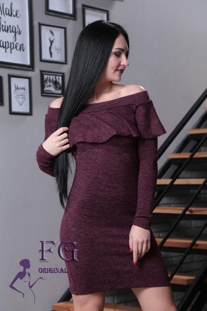 Бордовое стильное платье до колен длинный рукав открытые плечи