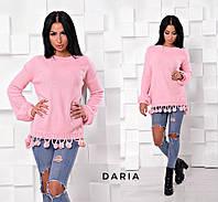 Оригинальный пудровый свитер с балабончиками Daria, фото 1