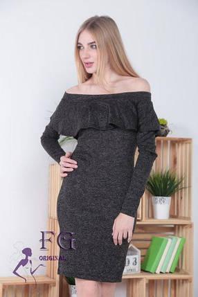 Осеннее платье средней длины по фигуре открытые плечи волан черное, фото 2