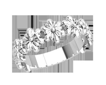 Кольцо  женское серебряное Цветы 21259