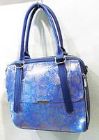 Синяя сумка кожаная под принт змеи 27 х 24 см, фото 1