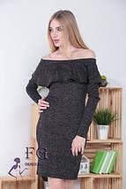 Модное платье до колен по фигуре длинный рукав с воланом открытые плечи темно синее, фото 3