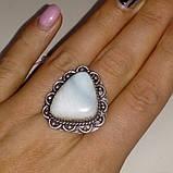 Кольцо с натуральным камнем ларимар (Доминикана) в серебре. Размер 19,5. Индия, фото 2