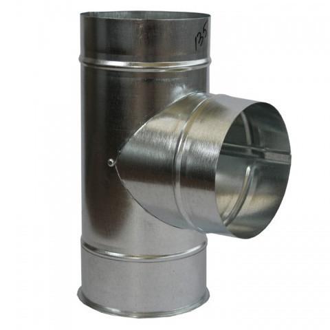 Тройник дымохода 90° х 100 мм х 0.45 мм оцинкованный