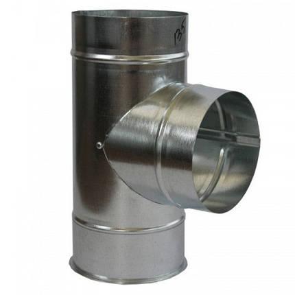Тройник дымохода 90° х 100 мм х 0.45 мм оцинкованный, фото 2