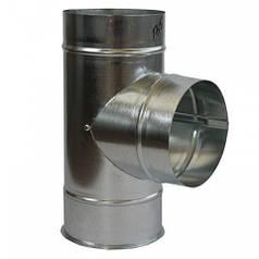 Тройник дымохода 90° х 100 мм х 0.7 мм оцинкованный