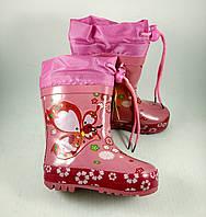Детские резиновые сапоги Clibee для девочек с утеплителем (утеплитель не вынимается) 22р. по стельке 14,5 см