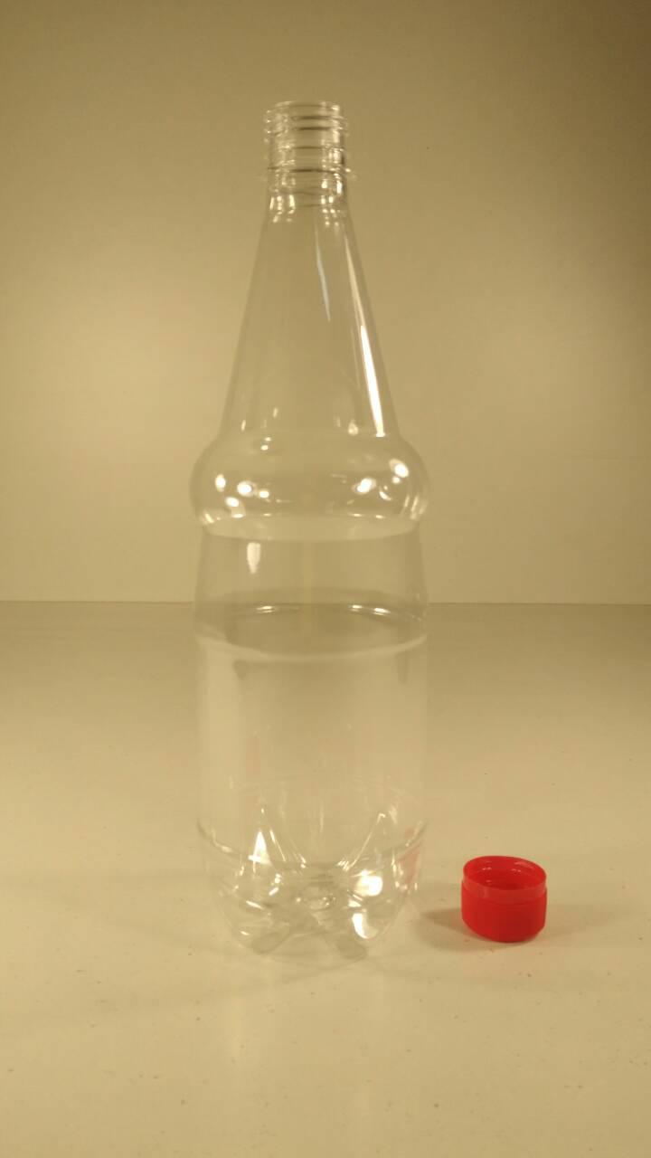 Бутылка пластиковая  ПЭТ 1,0 литра прозрачная с крышкой (110 шт)