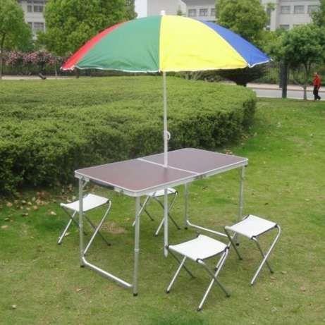 Стол + 4 стула,  раскладной для пикника, 120х60см