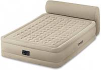 Надувная велюровая кровать с подголовником Intex 64460, 203х152х46см, встроенный электро насос, фото 1