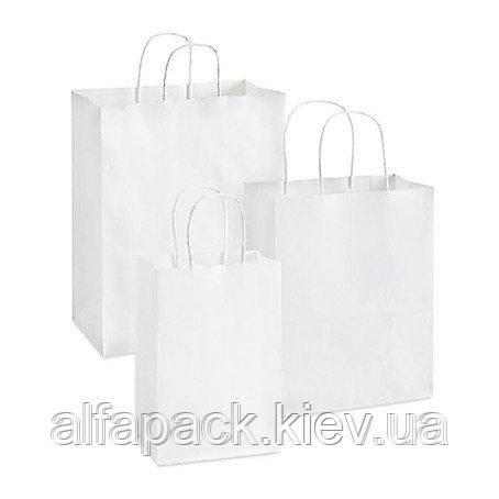 Пакет бумажный с кручеными ручками белый 200х100х220 мм