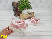 Кроссовки женские белые с розовым на высокой подошве, женская спортивная обувь