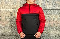 Анорак Nike Intruder утепленный на синтепоне, мужской черно-красный осенний/весенний, фото 1
