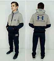 Спортивный костюм из трехнити синий/серый меланж от 122 до 170