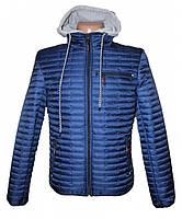 Cтеганая демисезонная мужская куртка с капюшоном, синяя, фото 1